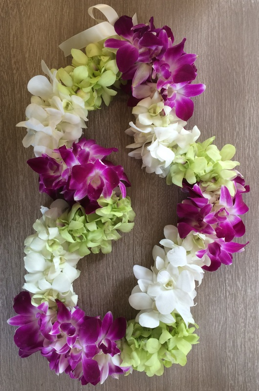 Leis pink the little flower shop fuchsia light green and white dendrobium orchids mightylinksfo